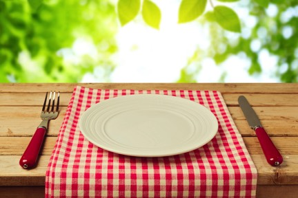 A Knife, fork and plate on a table